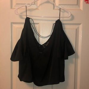 TOPSHOP draped tank with lace and criss cross